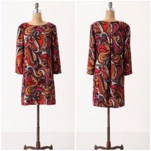 Anthropologie maneuvered geometric swirl dress